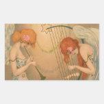 Vintage Music Victorian Angel Musicians Flute Harp Rectangular Sticker