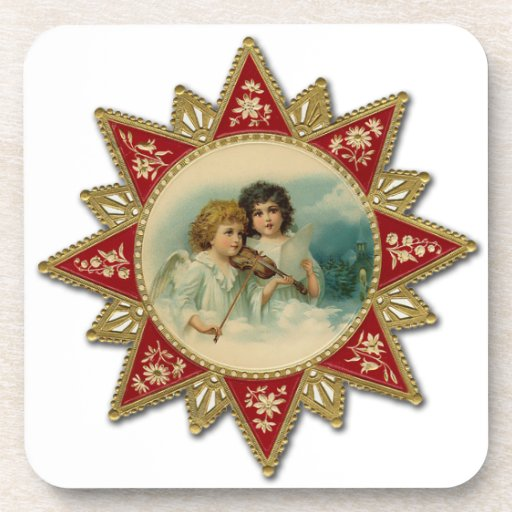 Vintage Musical Angels Christmas Coasters
