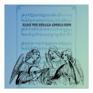 Vintage Musical Angels Poster