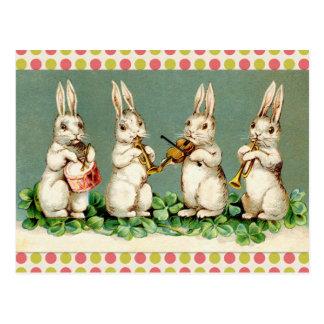 Vintage Musical Bunnies Postcard
