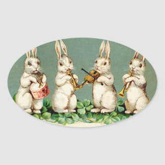 Vintage Musical Bunnies Stickers