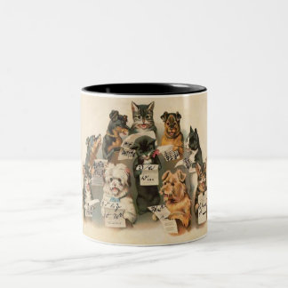 Vintage Musical Cats & Dogs Coffee Cup