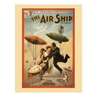 Vintage Musical Comedy The Air Ship Postcard