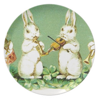 Vintage Musical Easter Bunnies Plates