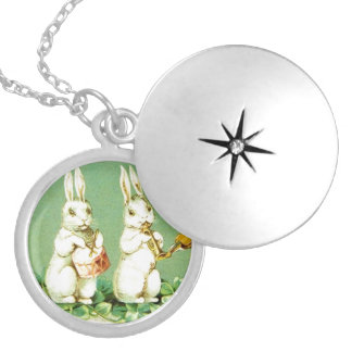 Vintage Musical Easter Bunnies Silver Plated Necklace