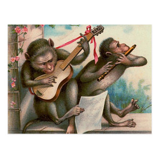"""Vintage Musical Monkeys"" Postcard"