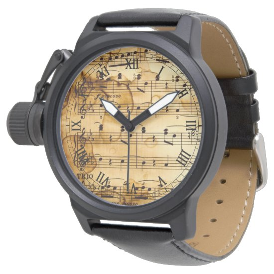 vintage musical notes wristwatch
