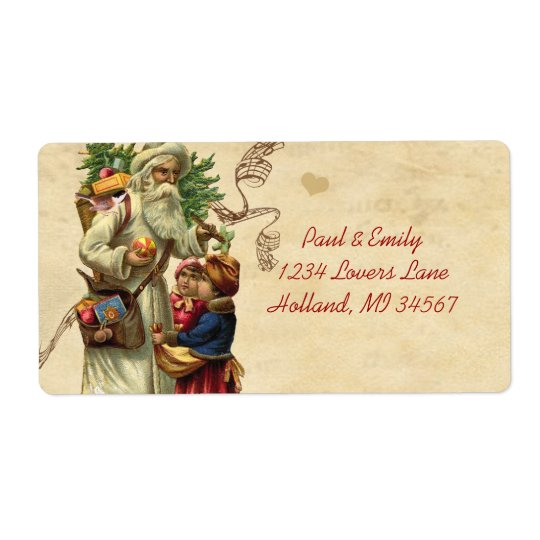 Vintage Musical Santa Chickadees and Children Label