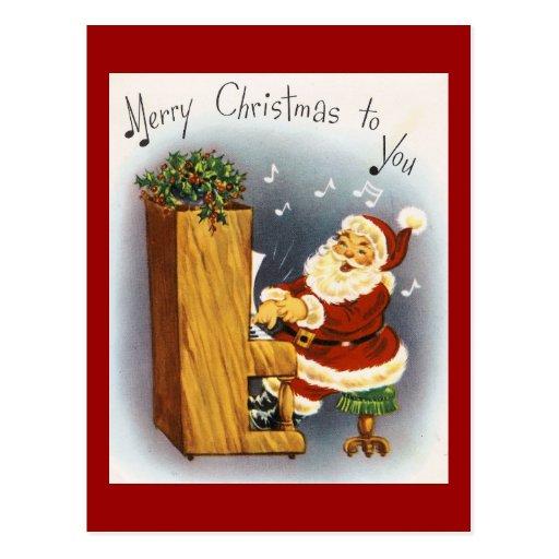 Vintage Musical Santa Postcard