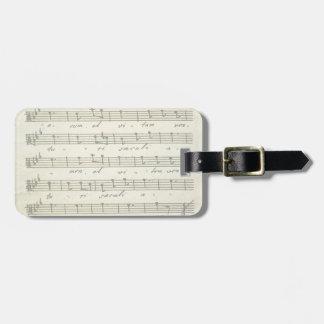 Vintage Musical Score 1810; Antique Sheet Music Travel Bag Tags