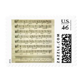 Vintage Musical Score 1810 Antique Sheet Music Postage Stamp