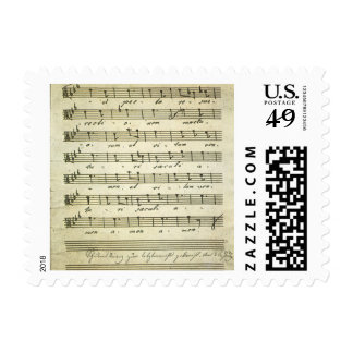 Vintage Musical Score 1810; Antique Sheet Music Postage Stamp