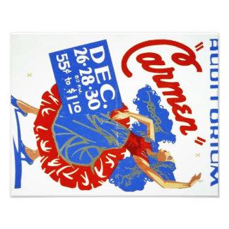 "Vintage Musical Theatre ""Carmen"" WPA Poster Photo Print"
