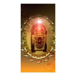 Vintage, musicbox with light effect photo card