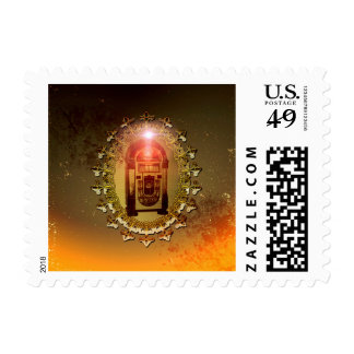 Vintage, musicbox with light effect postage