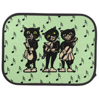 Vintage Musician Black Cats Music Notes Car Floor Mat