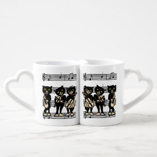 Vintage Musician Black Cats Music Notes Coffee Mug Set