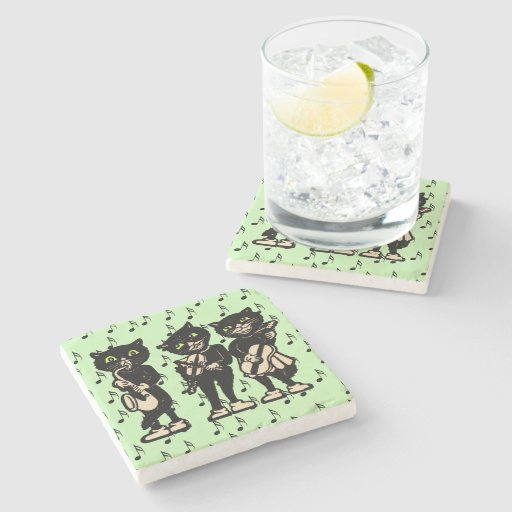 Vintage Musician Black Cats Music Notes Stone Coaster