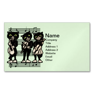 Vintage Musician Black Cats Music Notes Magnetic Business Card
