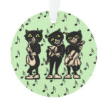 Vintage Musician Black Cats Music Notes Ornament