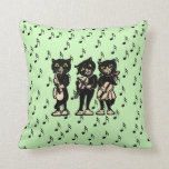 Vintage Musician Black Cats Music Notes Throw Pillow