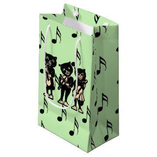 Vintage Musician Black Cats Music Notes Small Gift Bag