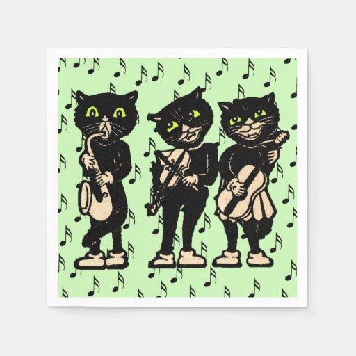 Vintage Musician Black Cats Music Notes Disposable Napkin