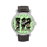 Vintage Musician Black Cats Music Notes Watch