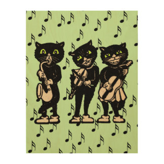 Vintage Musician Black Cats Music Notes Wood Wall Art