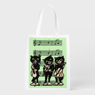 Vintage Musician Black Cats Music Notes Market Totes