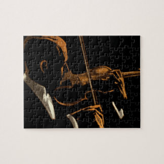 Vintage Musician, Violinist Playing Violin Music Jigsaw Puzzle