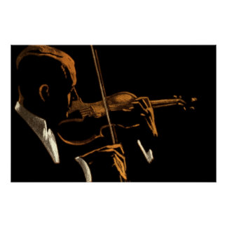 Vintage Musician, Violinist Playing Violin Music Poster