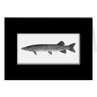Vintage Muskie fishing painting Card