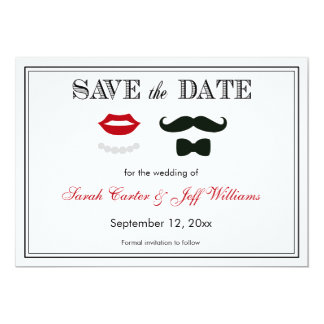 Vintage Mustache and Lips Save the Date Cards Custom Invitations