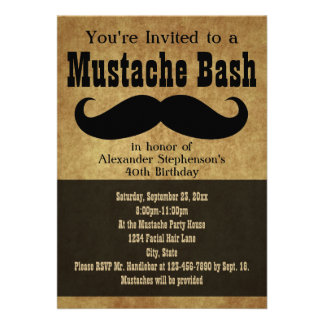 Vintage Mustache Bash Invitations