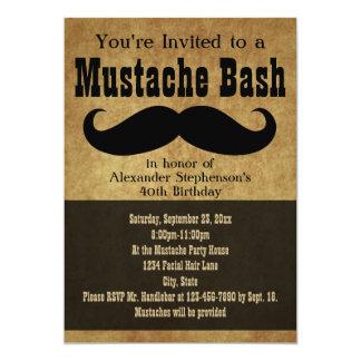 Vintage Mustache Bash 5x7 Paper Invitation Card