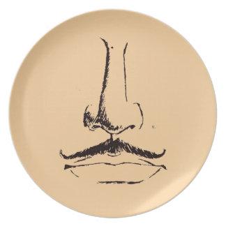 Vintage Mustache Melmac Plate