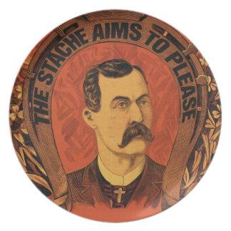 Vintage Mustache The Stache Aims to Please Melamine Plate