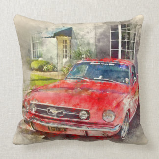 Vintage Mustang Throw Pillow