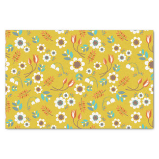 "Vintage Mustard Yellow Floral Flowers Pattern 10"" X 15"" Tissue Paper"
