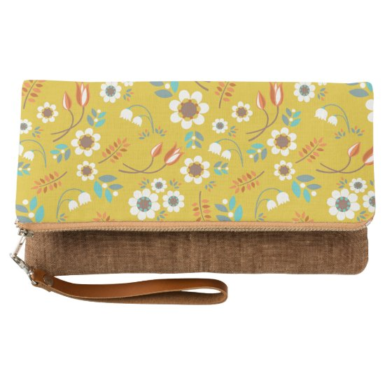 Vintage Mustard Yellow Floral Flowers Pattern Clutch