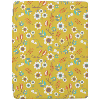 Vintage Mustard Yellow Floral Flowers Pattern iPad Cover