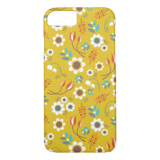 Vintage Mustard Yellow Floral Flowers Pattern iPhone 7 Case