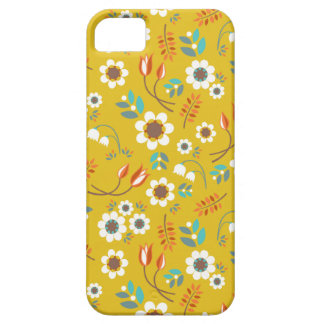 Vintage Mustard Yellow Floral Flowers Pattern iPhone SE/5/5s Case