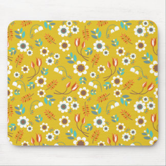 Vintage Mustard Yellow Floral Flowers Pattern Mousepads