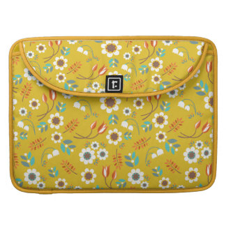 Vintage Mustard Yellow Floral Flowers Pattern Sleeve For MacBooks