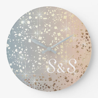 Vintage Muted 1920 Glam Gold Star Foil Sparkle Large Clock