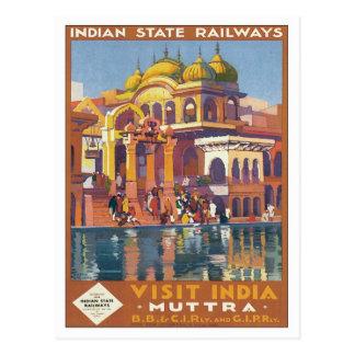 Vintage Muttra Mathura India Postcard
