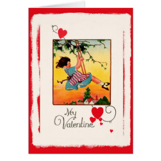 Vintage My Valentine Little Girl on a Swing Card