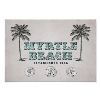 Vintage Myrtle Beach SC Est 1938 Poster